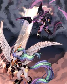 Celestia vs Twilight. Not sure why they would ever be fighting, but still looks pretty epic.