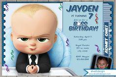 The Boss Baby Birthday Invitation - Boss Baby Movie Ticket Invitation