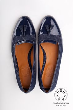 navy blue Loafers by Aga Prus Aga, Blue Loafers, Tory Burch Flats, Hand Sewing, Navy Blue, Fancy, Divergent, Handmade, How To Wear