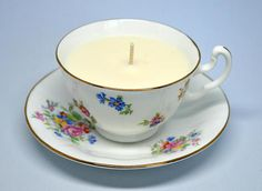 Vintage Upcycled Teacup Candle - Adderley English China - Vegan Vanilla Candle