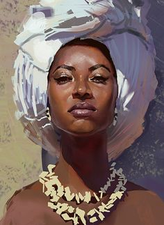 """N45"" - Thiago Moura Januário, 2015 {figurative art female head black woman face portrait digital grunge cropped painting #loveart} userthiago.deviantart.com"