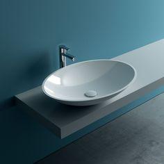 Lavabo da appoggio ovale Spadafora L 51,5 x P 38 x H 15 cm bianco