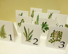 Leaf Wedding Table Cards, Botanical Table Tents, Woodland Leaf Numbers, Wedding Decor on Etsy, $2.50