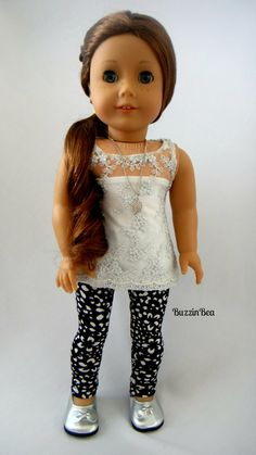 Lace Tunic and Black and White Leggings by BuzzinBea on Etsy