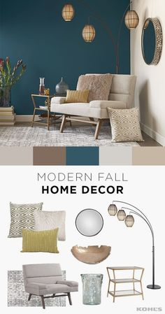 Kohl's Fall is the perfect time for a home refresh…and it's easier than you think! Adding a few new throw pillows, a lamp or even a cozy reading chair for cold nights can make a big difference in your living room. Shop modern fall home decor at Kohl's. Living Room Paint, Home Living Room, Living Room Designs, Teal Living Rooms, Teal Living Room Color Scheme, Blue Accent Walls, Accent Wall Bedroom, Blue Accents, Accent Wall Colors