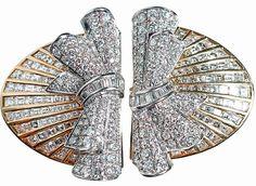 Art Deco, Art Nouveau jewelry   Viola.bz Broche doble-clip en forma