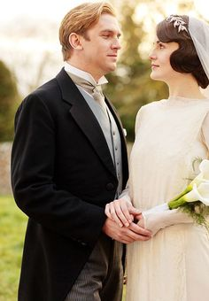 Lady Mary and Matthew Crawley of Downton Abbey on their wedding day