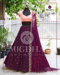 Stunning Lehenga with beautiful color combination . Mugdha can customize the color and size as per your requirement Product code : Order 9010906544 (whatsapp)For Call: 8899840840 (IVR) 17 April 2017 Silk Saree Blouse Designs, Choli Designs, Lehenga Designs, Lehenga Color Combinations, Color Combinations For Clothes, Kids Lehenga Choli, Anarkali, Ghagra Choli, Lehenga Blouse