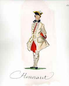 French Army 1735 - Infantry Regiment Hainaut, by Gudenus.