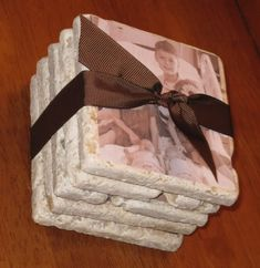 """photo tiles/coasters - tutorial - i like the """"crumbly stone"""" look of these tiles - i'm starting to think of these for photo display tiles, would be cute arranged with small wire holders along a small wall shelf - of course can use any image, or personal photos"""
