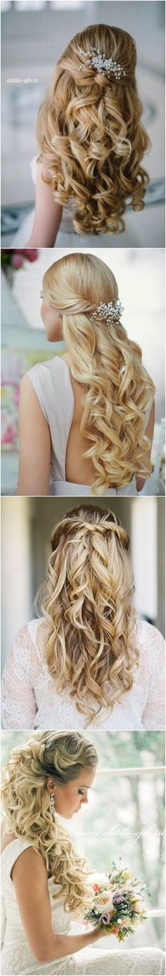 40 Stunning Half Up Half Down Wedding Hairstyles with Tutorial / www.deerpearlflow… Stunning Half Up Half Down Wedding Hairstyles with Tutorial / www.deerpearlflow… Hairstyles half up half down side soft curls Ideas Hairstyles half up half down wavy ideas Beach Wedding Hair, Wedding Hair Down, Wedding Hair And Makeup, Hair Makeup, Boho Wedding, Wedding Ideas, Down Hairstyles, Pretty Hairstyles, Wedding Hairstyles