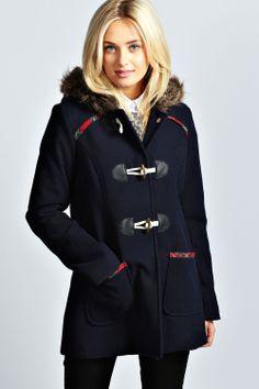 Taylor Fur Hood Tartan Trim Wool Mix Coat
