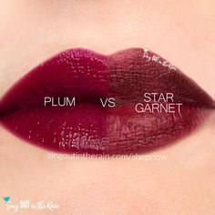 Compare Star Garnet vs. Plum LipSense using this photo.  Star Garnet is a Limited Edition LipColor by SeneGence.