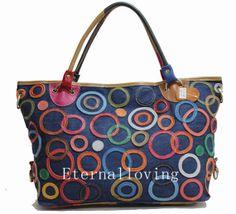 Kraft splicing female bag The cowboy cloth bag Single shoulder bag leisure bag Fashion girl's backpack Everyday bag fashion handbags