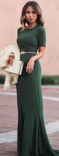 #summer #feminine #outfits |  Maxi Green Dress