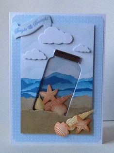 ★ [Cards] Memory Box and Marianne Design Creatables dies. The acetate jar works really well here. Cute Cards, Diy Cards, Step Card, Mason Jar Cards, Nautical Cards, Beach Cards, Marianne Design, Shaker Cards, Jar Crafts