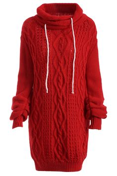 $22.99 Turtleneck Long Sleeve Cable Knit Sweater Dress