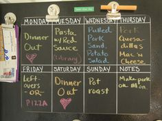 Chalkboard Panel Meal Planner (held up with Magnetic clips) - Great idea!