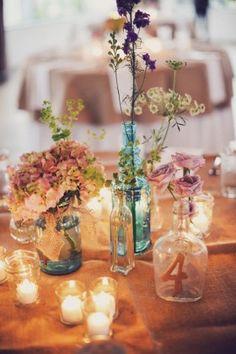 different jar combination wedding centerpiece