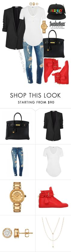 """""""Untitled #3231"""" by stylebydnicole ❤ liked on Polyvore featuring Hermès, Helmut Lang, Versace, BUSCEMI and Jennifer Zeuner"""