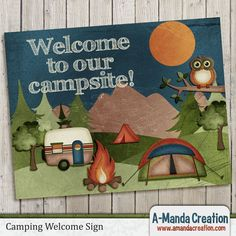 Camping Party Printables from #AmandaCreation.  Throw an awesome camping themed birthday party with this printable welcome sign