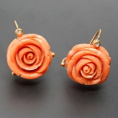 Torre Del Greco Italy 18 Kt Yellow Gold 0.20 Ctw Diamonds And Genuine Hand Carved Coral Blooming Rose Flower Hook Earrings