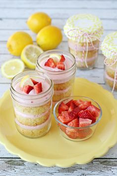 Strawberry Lemonade Cupcakes in a Jar | These delicious Strawberry Lemonade Cupcakes in a jar are a perfect sweet, tart treat!  This recipe could certainly be made as traditional cupcakes, but layering the cake and frosting in a jar makes it extra easy to bring along for a picnic or BBQ.  And of course, I have a special love for desserts in jars =) | From: glorioustreats.com