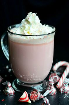 It's a delicious hot cocoa that's made with peppermint kisses and white chocolate!