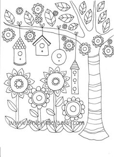 Set of 5 different Happy Garden Printable Colouring Pages by smileywileys - Appliqué pattern?