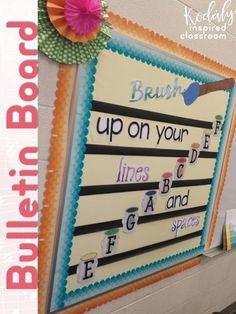 """Brush up on your lines and spaces"" bulletin board for my elementary music room. Kodaly Inspired Classroom: Music Room Reveal 2015 #kodalyinspiredclassroom #Kodaly #MusicBulletinBoards #elmused #musedchat #musiceducation #Orff #iteachmusic"