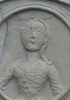 "Outstanding ""portrait"" headstone showing 18th century dress."