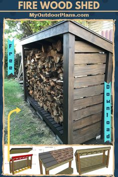 This step by step diy woodworking project is about free wood shed plans. This simple wood shed can store up to cords of wood and is easy to build. Outdoor Firewood Rack, Firewood Shed, Firewood Storage, Building A Wood Shed, Building Plans, Wood Storage Sheds, Wood Shed Plans, Backyard Sheds, Wooden Playhouse