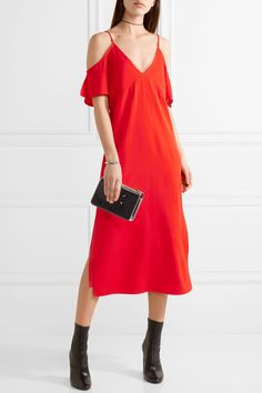 T by Alexander Wang | Cold-shoulder chain-trimmed stretch-crepe midi dress | NET-A-PORTER.COM