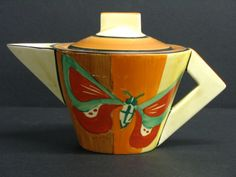 Butterfly Conical Teapot, Clarice Cliff