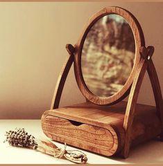 Oval Mirror, Wood Mirror, Dresser With Mirror, Mirror Drawers, Table Mirror, Handmade Mirrors, Unique Mirrors, Handmade Wooden, Wooden Decor