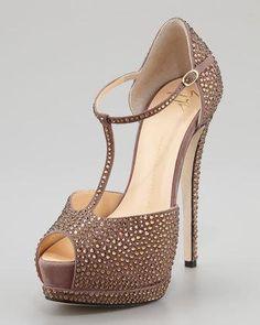 Giuseppe Zanotti Strass Suede T-Strap Platform Sandal, Canella - Neiman Marcus Jimmy Choo, Shoe Boots, Shoes Heels, High Heels, Christian Louboutin, Prada, Giuseppe Zanotti Heels, Zanotti Shoes, The Bling Ring