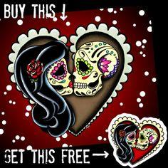 Risultati immagini per sugar skull couple tattoo Sugar Skull Design, Sugar Skull Art, Sugar Skulls, Jack Et Sally, Skull Couple Tattoo, Caveira Mexicana Tattoo, Sugar Skull Wedding, Anniversary Tattoo, Skull Pillow