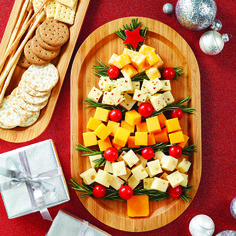 The Bamboo Appetizer Platter is the perfect backdrop to this simple, cheese Tannenbaum.
