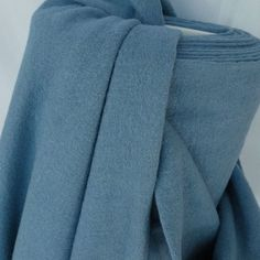 Chalky Blue Knitted Washed Wool Mix
