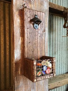 Wall Mount Bottle Opener and Cap Catcher by DistressedProjects