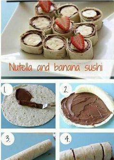 These delicious Nutella and banana fruity snacks are so easy you can prepare them for the after-school rush in five minutes. They also look cute on party platters. Snack Recipes, Dessert Recipes, Snacks, Desserts, Breakfast Basket, Banana Sushi, Party Food Platters, Nutella Cheesecake, Dessert Bread