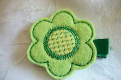 Boutique Lime Green Embroidered Felt Flower Hair by pachwilliamson, $3.00