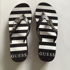 """GUESS Elainie Chain Sandal (Black & White Strips) These wedge sandals with cute charms devours. Black/white strips. Never wore before.  Tag is removed for comfort. About 1.75"""" wedge height, 1"""" platform. Materials: manmade upper, manmade sole. ⛱ Guess Shoes"""