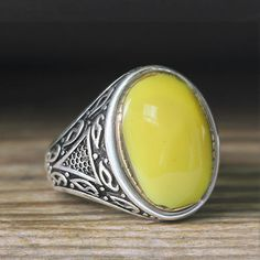 925 K Sterling Silver Man Ring Yellow Amber 11 US Size $34.90