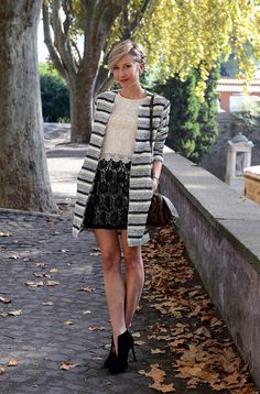 pictures source at www.coffeeblooms.com   #streetstyle #style #fashion #chic #black #white #beige #brown #lace #stripes