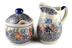 Blue Rose Polish Pottery: Garden Butterfly Cream & Sugar Set
