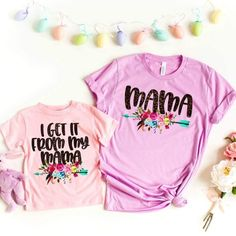 Mama // I get it from my mama // mommy and me graphic tees Unisex fit made to order must order each shirt (not a set) Mommy And Me Shirt, Mommy And Me Outfits, Baby Outfits, Matching Shirts, Matching Set, Mom Shirts, Kids Shirts, I Got This, Clothing Items