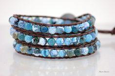 Ocean Turquoise 3X Leather Wrap Bracelet  Chan Luu by StoneSource, $40.00