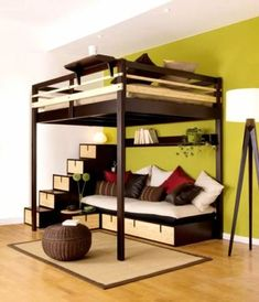 Loft Bed Design for The Modern Adult : Loft Bed Contemporary Bedroom Design For Small Space By Espace Loggia Cool Loft Beds, Modern Bunk Beds, Diy Bed Loft, Cool Beds For Boys, Pallet Loft Bed, Pallet Wood, Small Rooms, Small Spaces, Small Apartments
