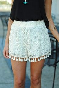 womens white lace fringe trim shorts